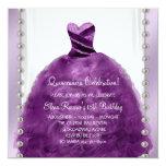 Party Dress Pearls Plum Purple Quinceanera 13 Cm X 13 Cm Square Invitation Card