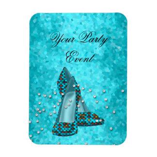 Party Event Teal Blue Glitter Shoes Vinyl Magnet