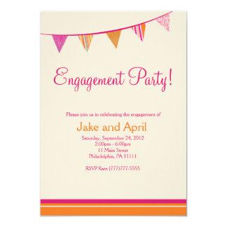 Party Flags Engagement Party - Orange 13 Cm X 18 Cm Invitation Card