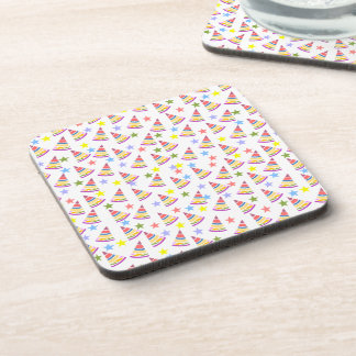 Party Hats and Stars Pattern Coaster