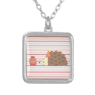 Party Hedgehog and Cupcake Silver Plated Necklace