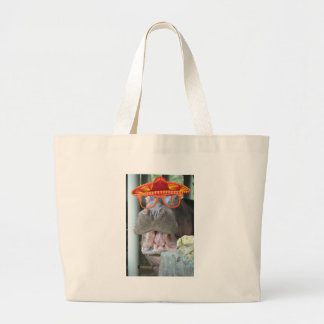 Party Hippo chow time Large Tote Bag