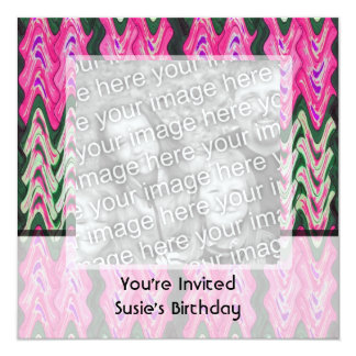 Party Invitaiton Bright green pink pattern 13 Cm X 13 Cm Square Invitation Card