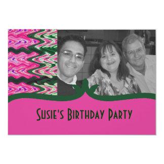 Party Invitaiton Bright green pink pattern 13 Cm X 18 Cm Invitation Card