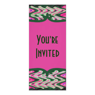 Party Invitaiton Bright green pink pattern Card