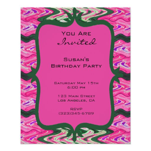 Party Invitaiton Bright green pink pattern Personalized Flyer