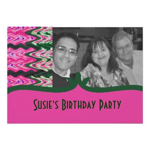 Party Invitaiton Bright green pink pattern Invitation