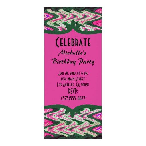 Party Invitaiton Bright green pink pattern Personalized Invite