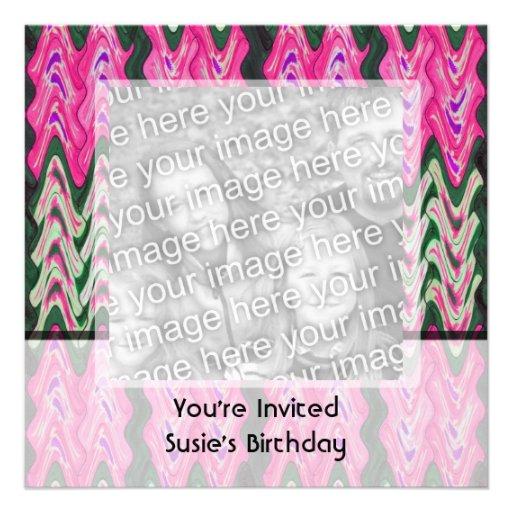 Party Invitaiton Bright green pink pattern Custom Invites