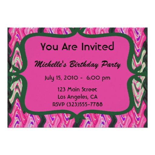 Party Invitaiton Bright green pink pattern Invite