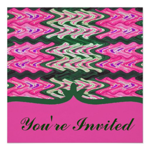 Party Invitaiton Bright green pink pattern Personalized Invitation