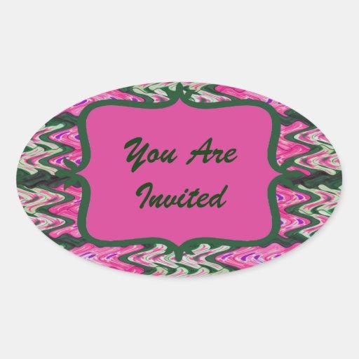 Party Invitaiton Bright green pink pattern Sticker