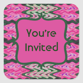 Party Invitaiton Bright green pink pattern Square Sticker