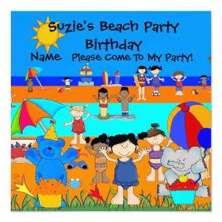 Party Invitation Birthday Beach Girls Children