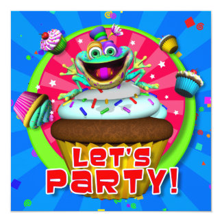"""Party Invite- """"Let's Party!"""" with Fribbets 13 Cm X 13 Cm Square Invitation Card"""