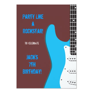 Party Like a Rockstar blue 13 Cm X 18 Cm Invitation Card