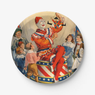 Party Paper Plate with a Vintage Circus Poster 7 Inch Paper Plate
