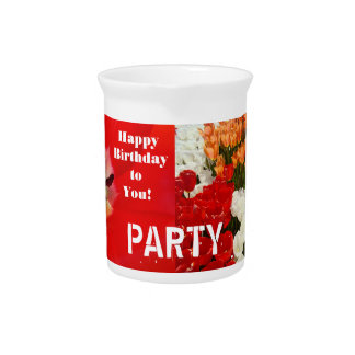 PARTY pitchers Red Tulip Flowers Happy Birthday