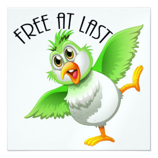 Party Time Bird - Free At Last 13 Cm X 13 Cm Square Invitation Card