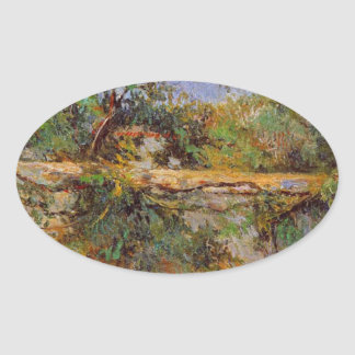 Party wall by Paul Gauguin Oval Sticker