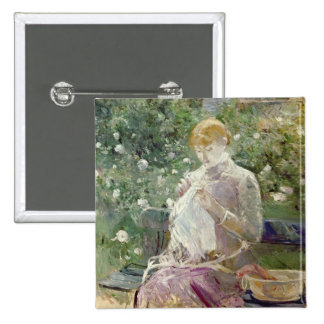 Pasie sewing in Bougival's Garden, 1881 15 Cm Square Badge