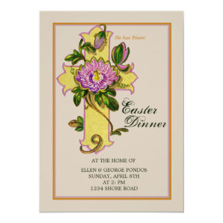 "Passion Flower on Cross Easter  Invitation 5"" X 7"" Invitation Card"