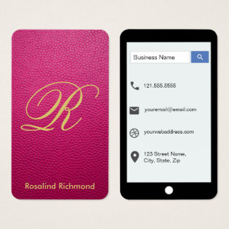 Passion Pink Mock Leather iPhone Style Business Card