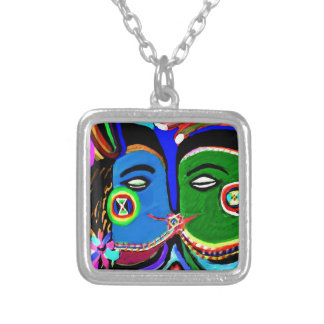 Passionate Kiss - Vintage India Cave Art Style Silver Plated Necklace