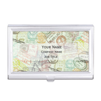 Passport Stamp Print Business Card Holder