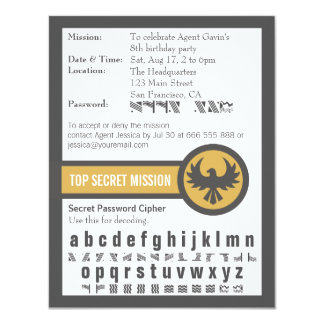 Password Secret Agent Birthday Party 11 Cm X 14 Cm Invitation Card