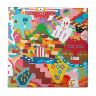Pastel Abstract Graffiti Mural Small Square Tile