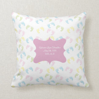 Pastel Baby Foot Prints Baby Room Decor Pillow
