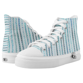 Pastel blue and opal lines printed shoes