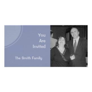 Pastel Blue Modern Party Invite Custom Photo Card