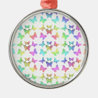Pastel Butterflies Swirl Pattern Christmas Ornament