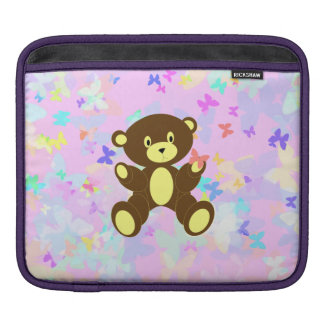 Pastel Butterfly Background With Brown Bear iPad Sleeves