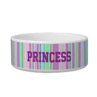Pastel Candy stripe custom name pet bowl Cat Water Bowls
