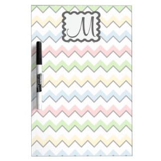 Pastel Chevron with Monogram by Shirley Taylor Dry Erase Board