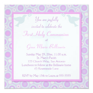 Pastel Circles First Holy Communion Invitation