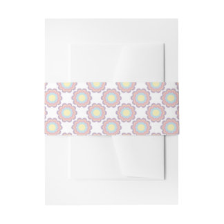 Pastel Color Flower Pattern Invitation Belly Band