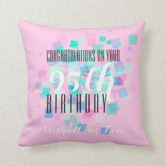 Pastel Colors 1- 95th Birthday Custom Pillow Throw Cushion