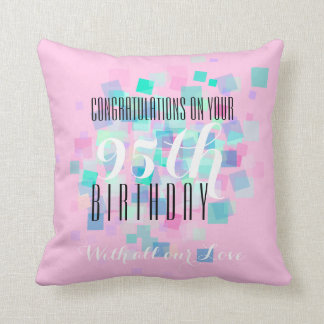 Pastel Colors 1- 95th Birthday Custom Pillow Throw Cushion