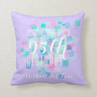 Pastel Colors 95th Birthday Custom Pillow 2 Cushion