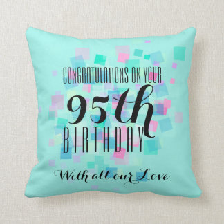 Pastel Colors 95th Birthday Custom Pillow 3 Cushion