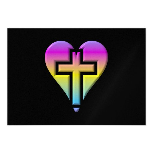 Pastel Cross inside a Heart Invites