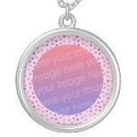 pastel cute cupcakes photo frame round pendant necklace