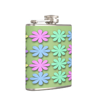 Pastel Daisy Pattern Liquid Courage Flask