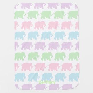 Pastel elephants custom baby blanket