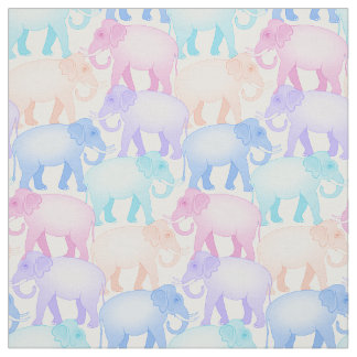 Pastel Elephants on the March Baby Decor Fabric