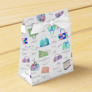 Pastel Floral Watercolor Illustrations Typography Party Favour Boxes